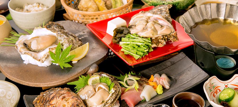 岩牡蠣料理フルコース写真